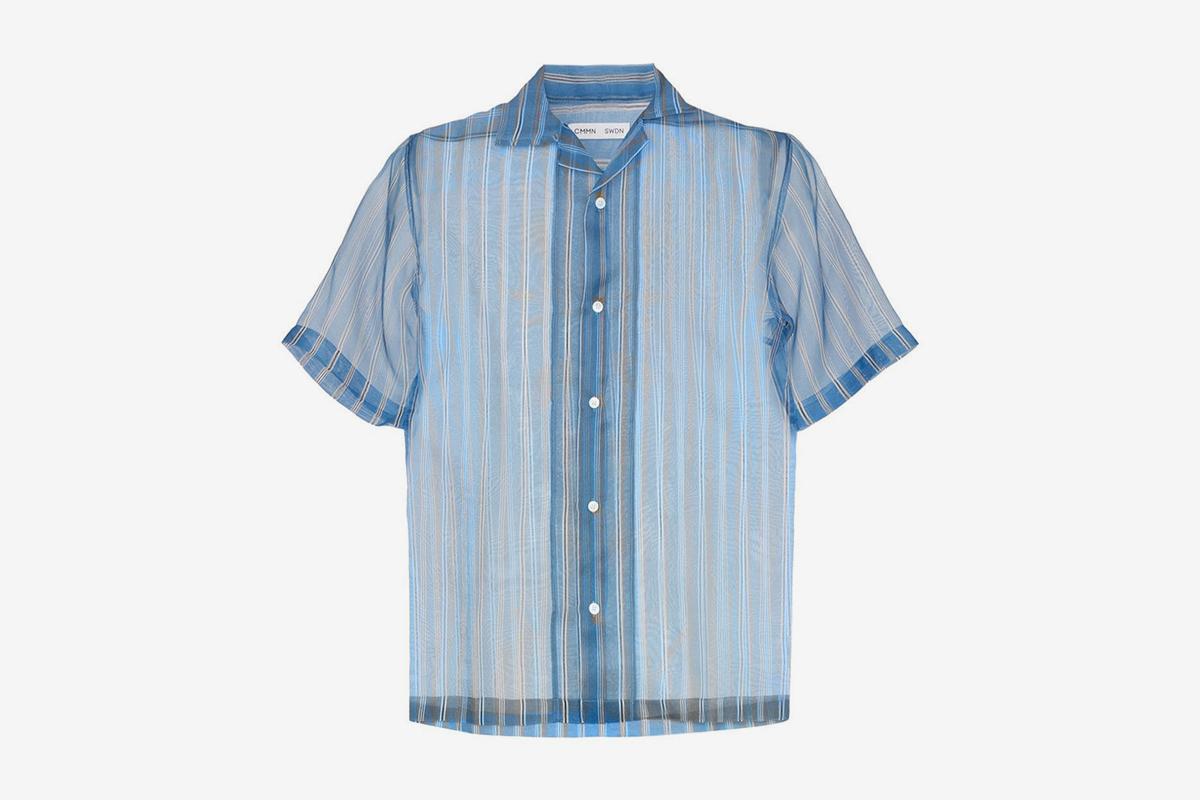 Duncan Striped Sheer Silk Shirt