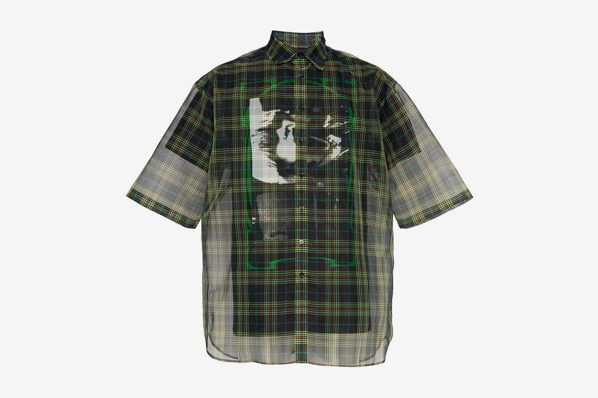 Check Print Double Layer Sheer Cotton Blend Shirt