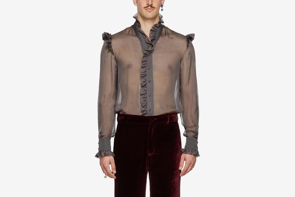 Sheer Ruffled Shirt