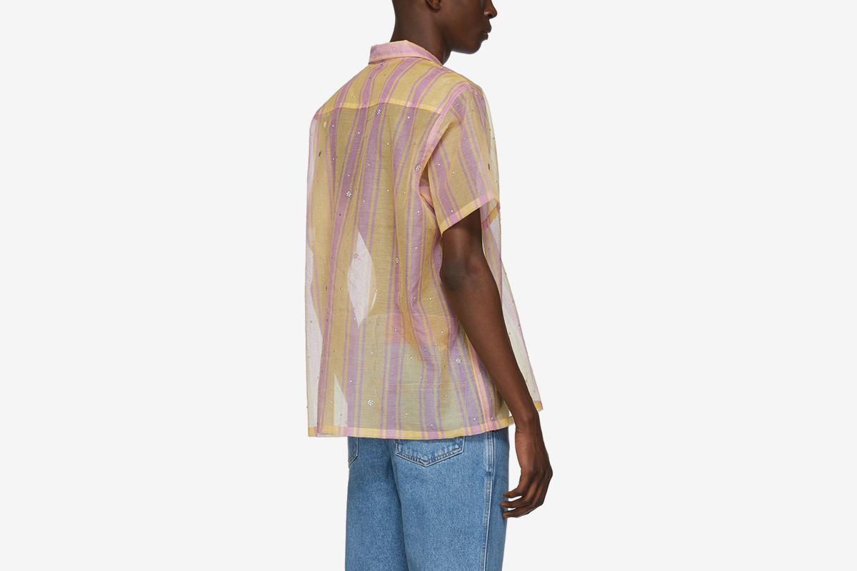 Sheer Stripe Bowling Shirt