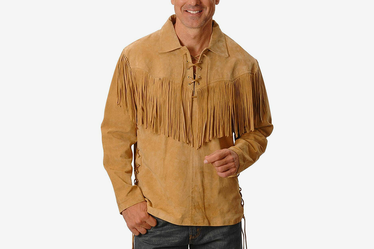Fringed Boar Suede Leather Shirt