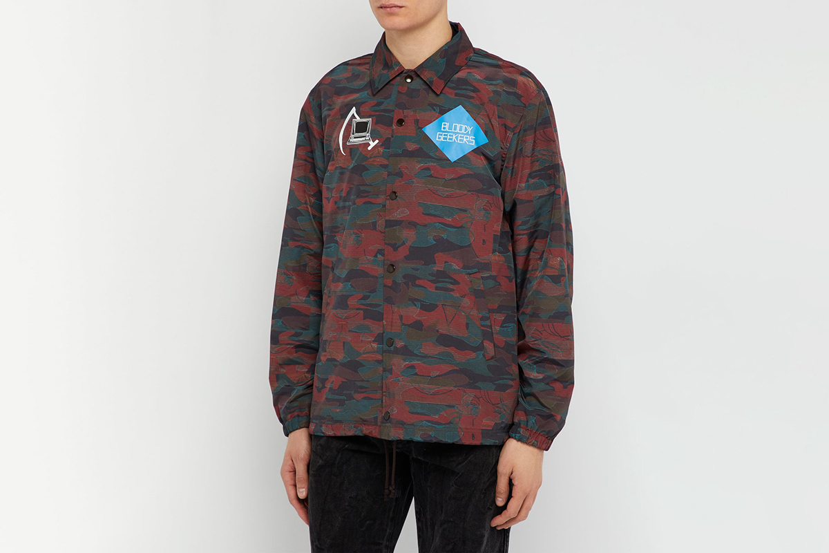 Camouflage-Print Computer Patch Jacket