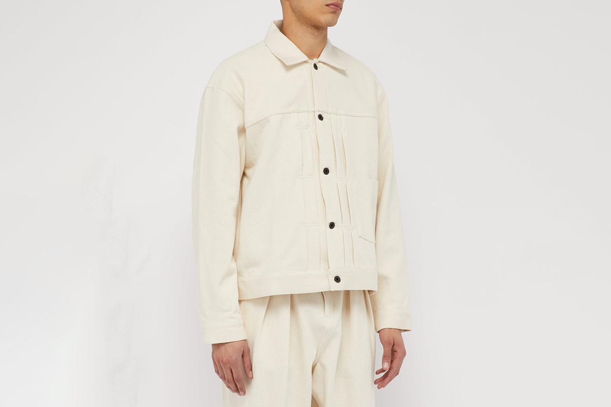 Pleated-Front Denim Jacket