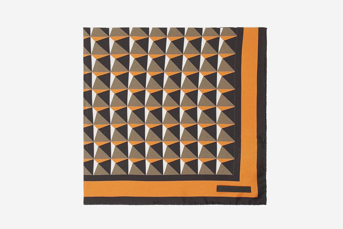Geometric-Print Silk Pocket Square
