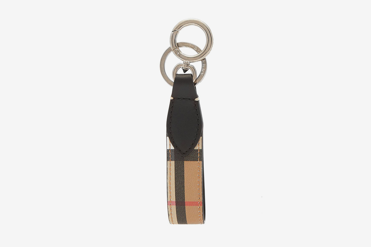 Vintage-Check Leather Key Ring
