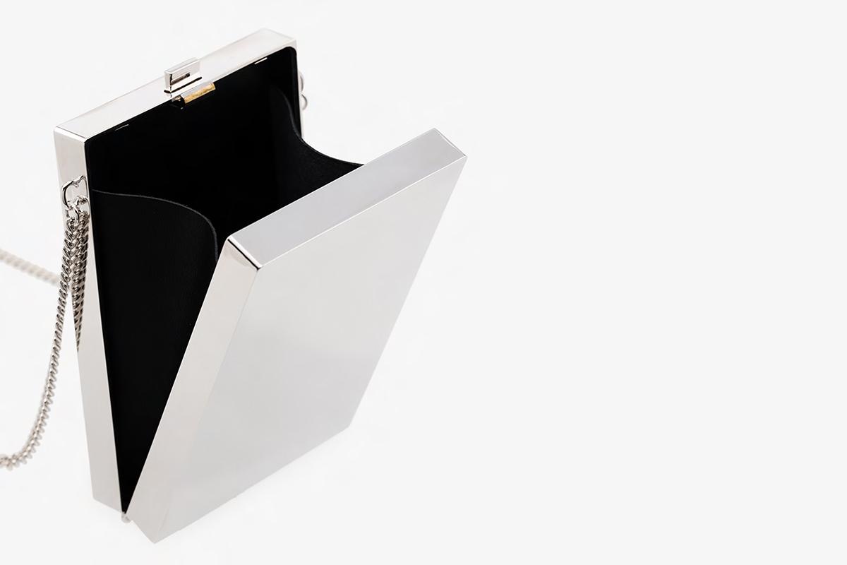 Metallic Silver Card Case Necklace
