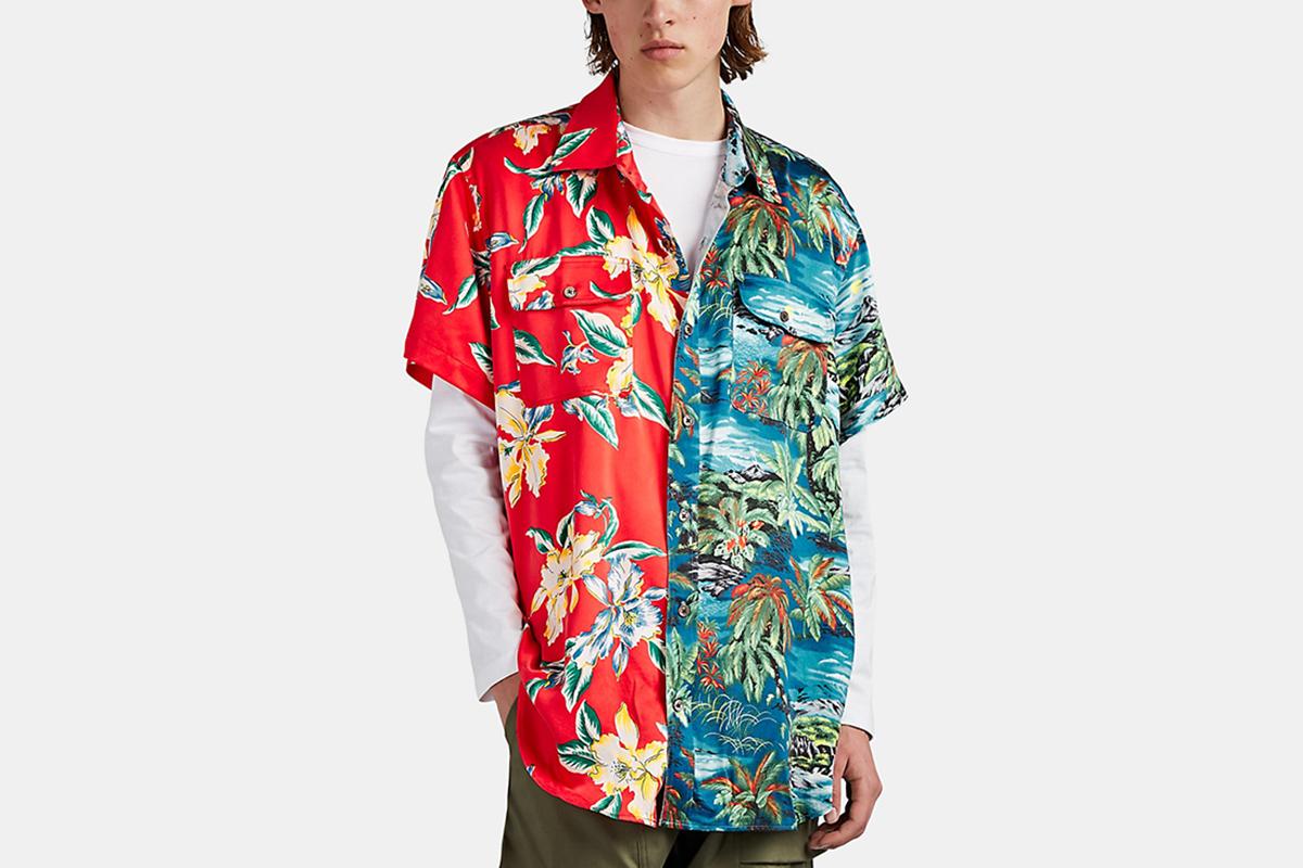 Multi-Hawaiian-Print Satin Shirt