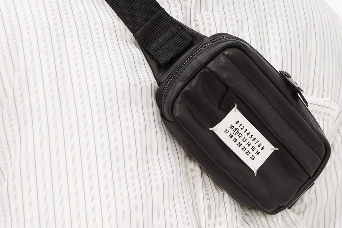Logo Plaque Leather Belt Bag
