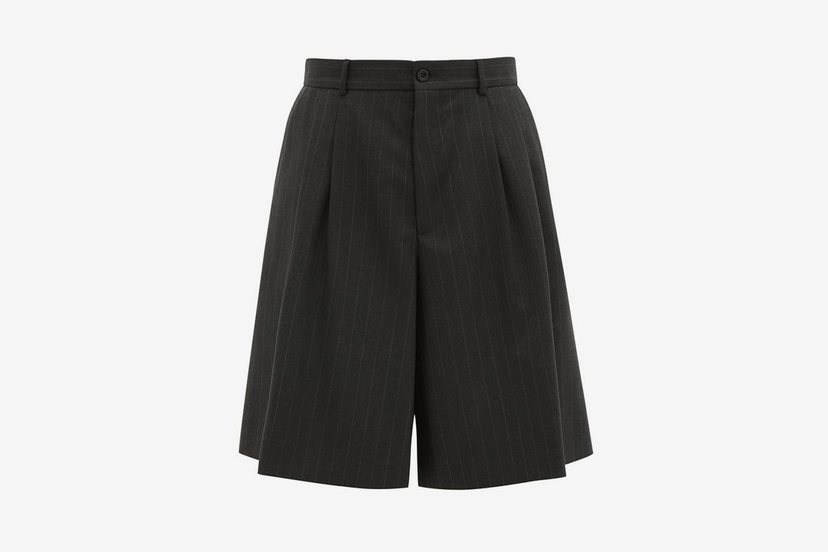 Oversized Pinstripe Virgin Wool Shorts