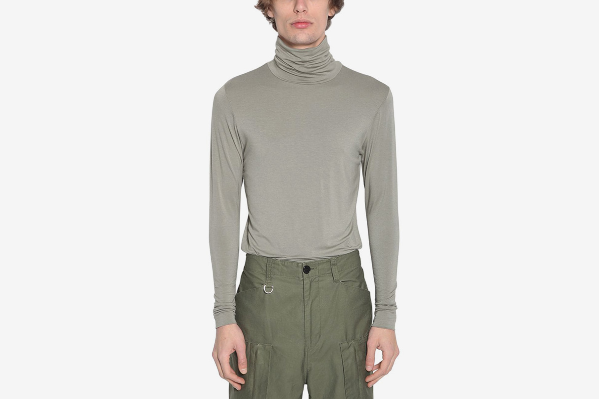 Embroidered Rayon Turtle Neck