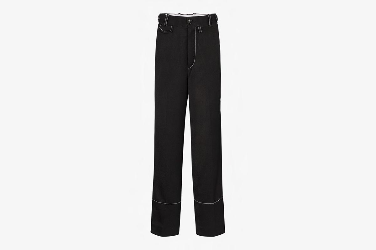 Contrast Trim Cotton Trousers