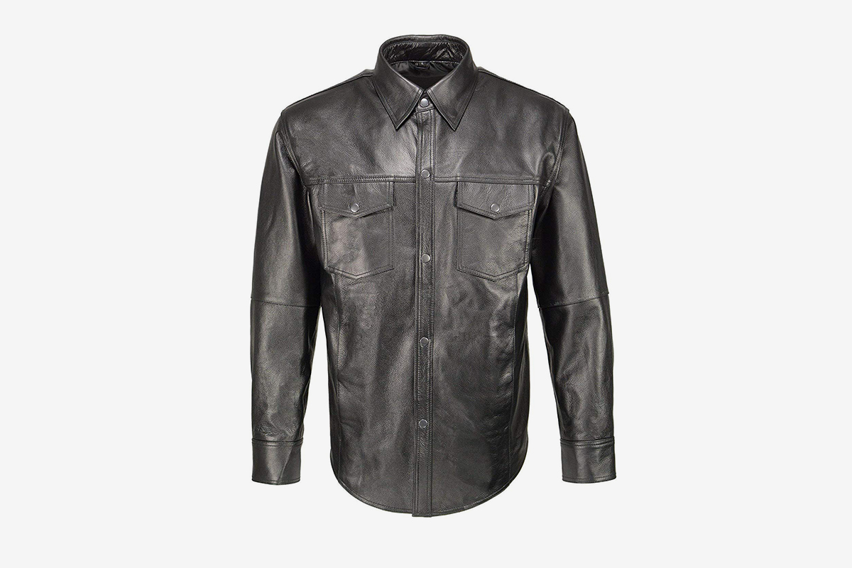 Classic Snap Front Leather Shirt