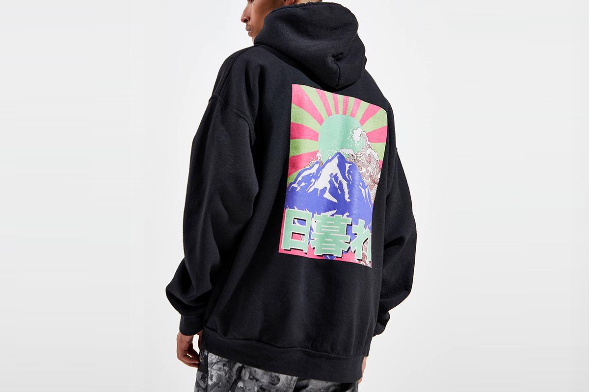 Sunset Kanji Text Pigment Dye Hoodie Sweatshirt