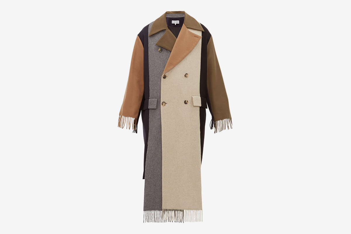 Contrast Panel Fringed Cashmere Trench Coat