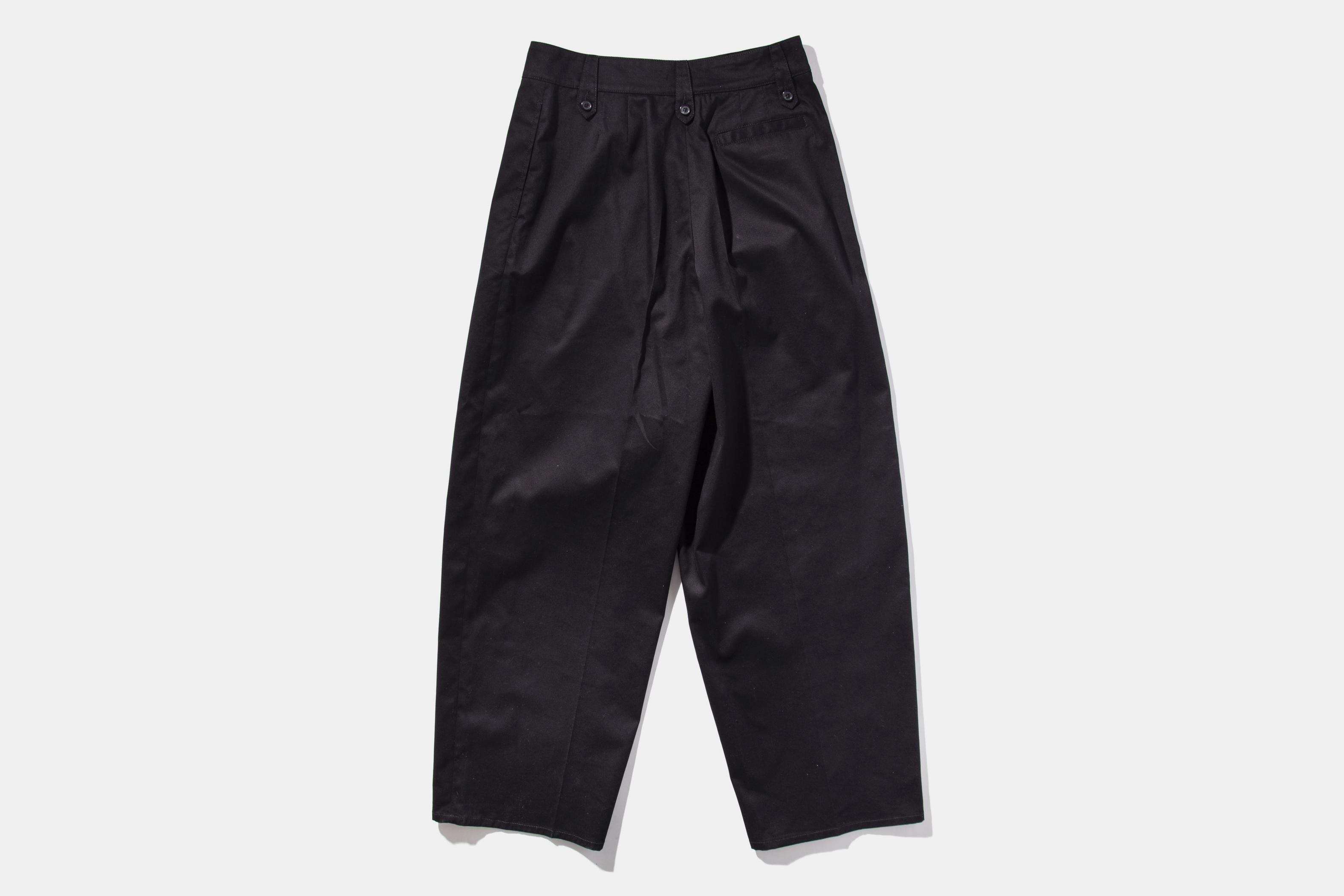 Twill Stripe Wide Leg Trouser