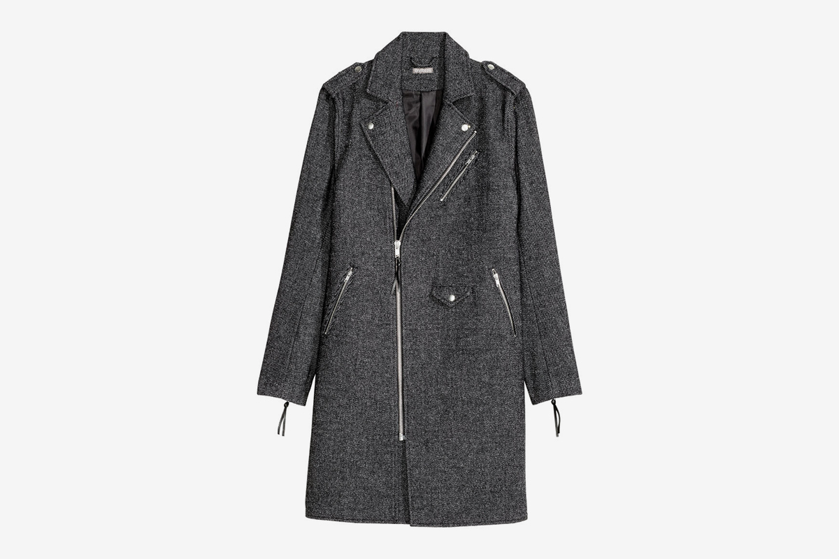 Wool-Blend Biker Coat
