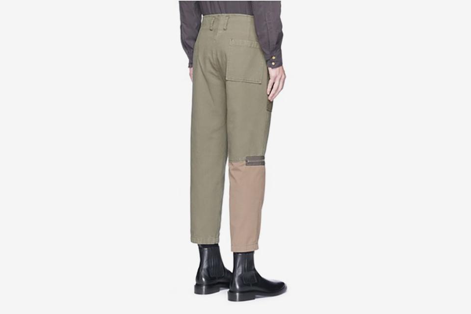 Zip Cuff Patchwork Canvas Flight Pants