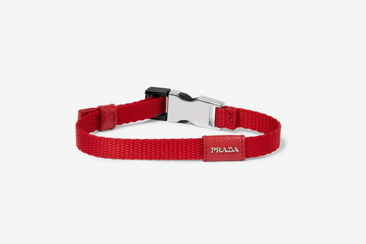 Saffiano Leather-Trimmed Webbing Bracelet